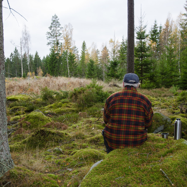 """Senior lumberjack sitting in a forest"" stock image"