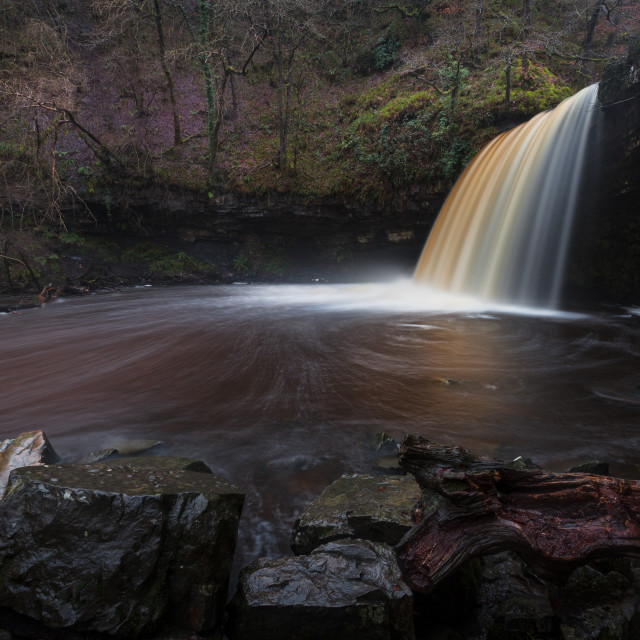 """Lady Falls Sgwd Gwladus in full flow"" stock image"