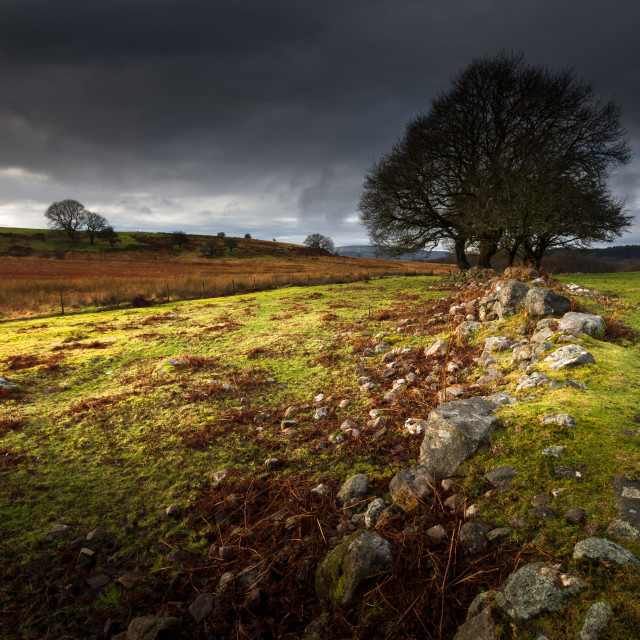 """Approaching storm over Brecon, South Wales UK"" stock image"