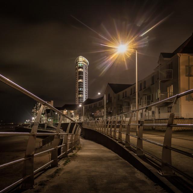 """Swansea promenade at night"" stock image"