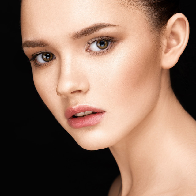 """""""Close-up portrait of beautiful girl with clear healthy skin"""" stock image"""