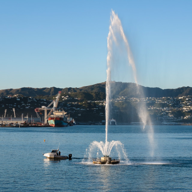"""Oriental Bay fountain"" stock image"