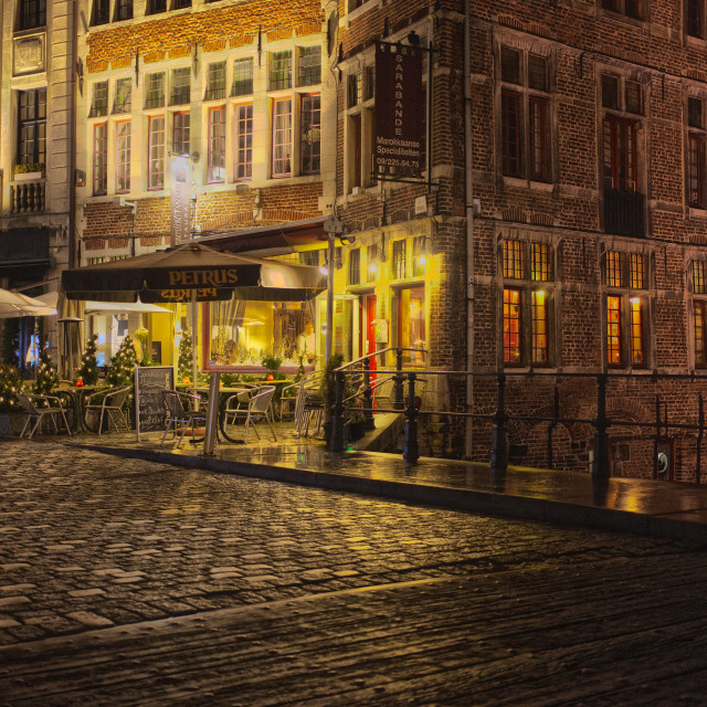 """A streetscene at night in Europe"" stock image"