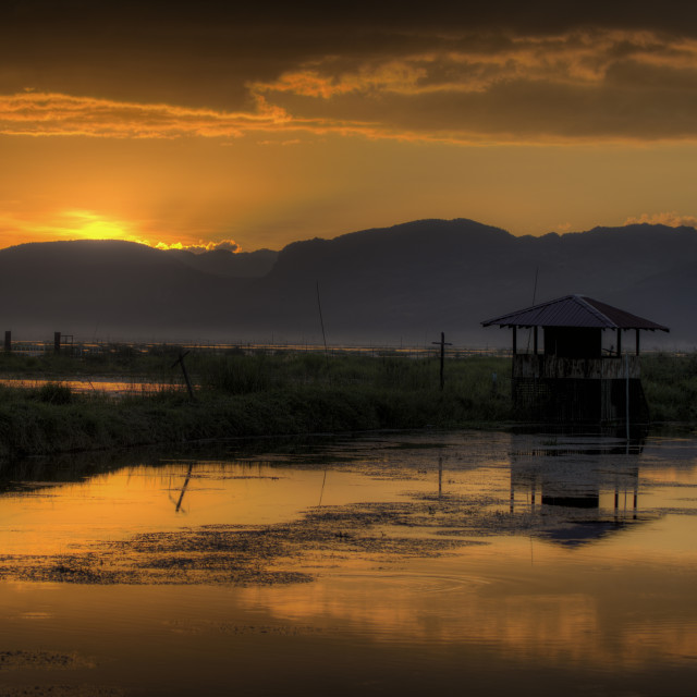 """Sunset Inle Lake Myanmar"" stock image"
