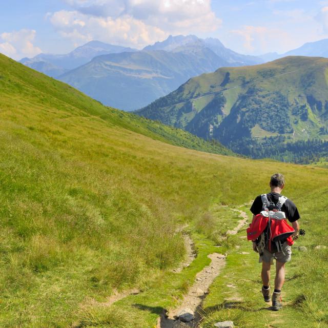 """hiker in mountain landscape"" stock image"