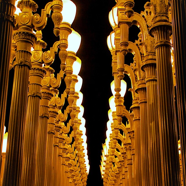 """urban light at LACMA, Los Angeles, USA at night"" stock image"