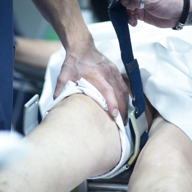 """Hospital operating room knee surgery"" stock image"