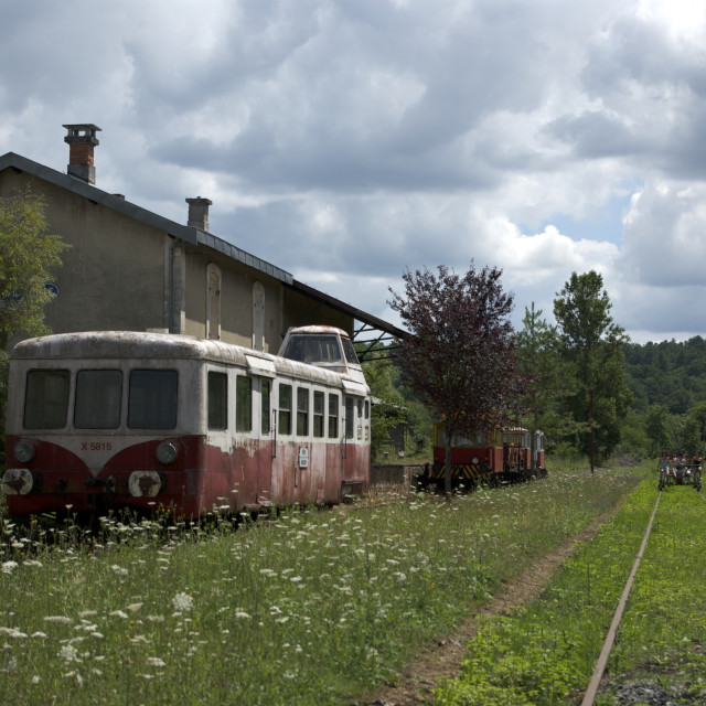 """abandoned station, derelict train"" stock image"