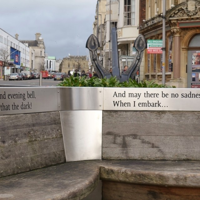 """""""Words on a Bench."""" stock image"""