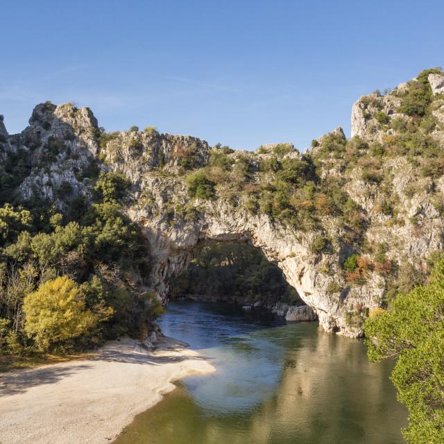 """""""Gorges de l'Ardeche - Pont d´Arc - Vallon (France)"""" stock image"""
