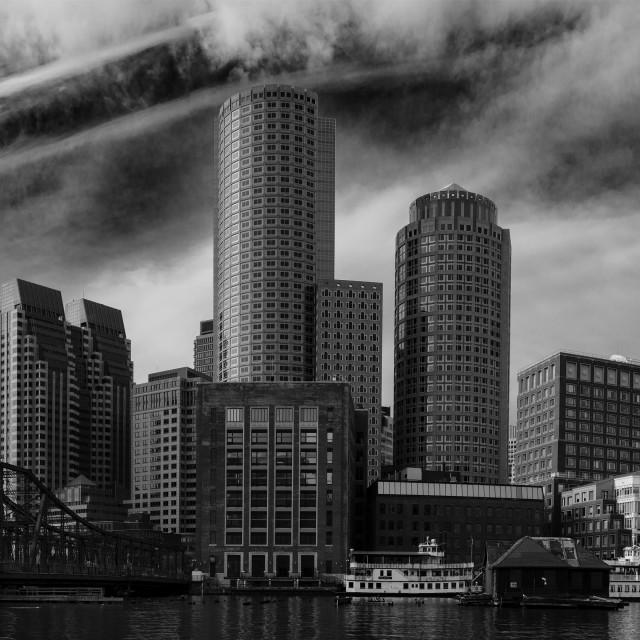 """Boston Harbor Skyline II"" stock image"