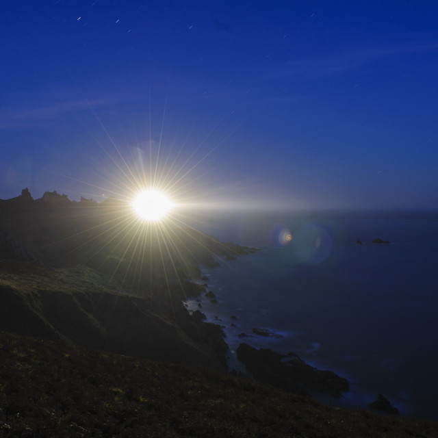 """Start Point Lighthouse at Night"" stock image"