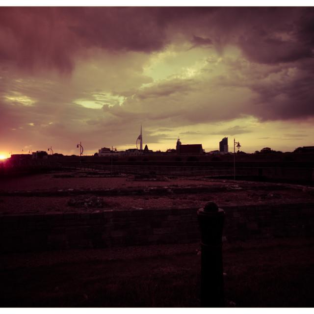"""Sunset over Portsmouth"" stock image"