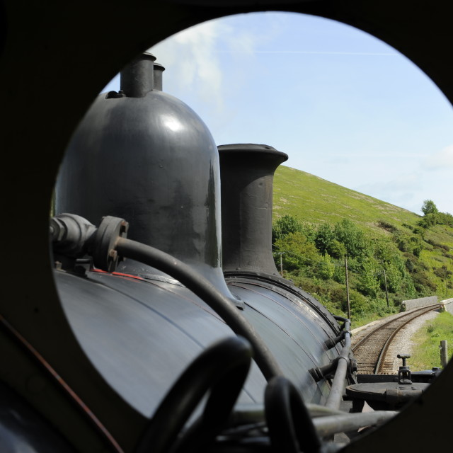 """""""Driver's view on a steam train."""" stock image"""