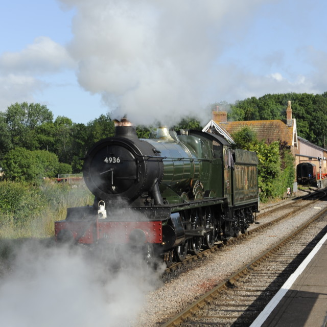 """""""Steam locomotive Kinlet Hall on the West Somerset Railway"""" stock image"""
