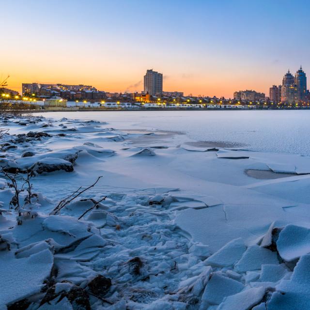 """Winter Night Cityscape close to the Dnieper River in Kiev"" stock image"