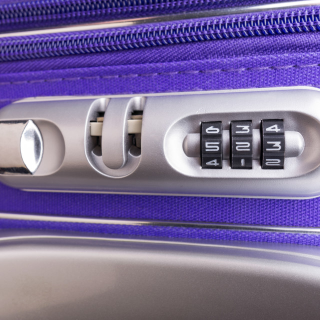 """""""Padlock with Three Numbers on a Suitcase"""" stock image"""