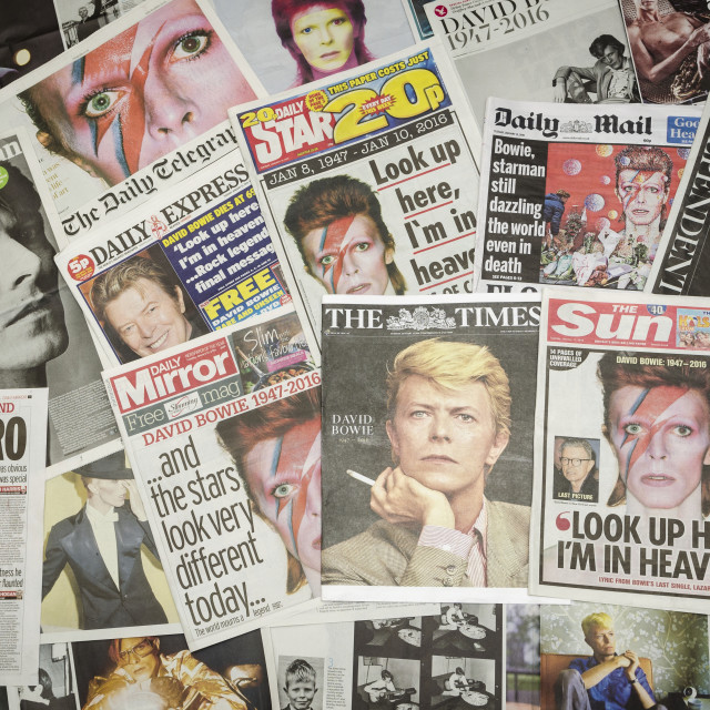 """""""British newspaper headlines following the death of David Bowie"""" stock image"""
