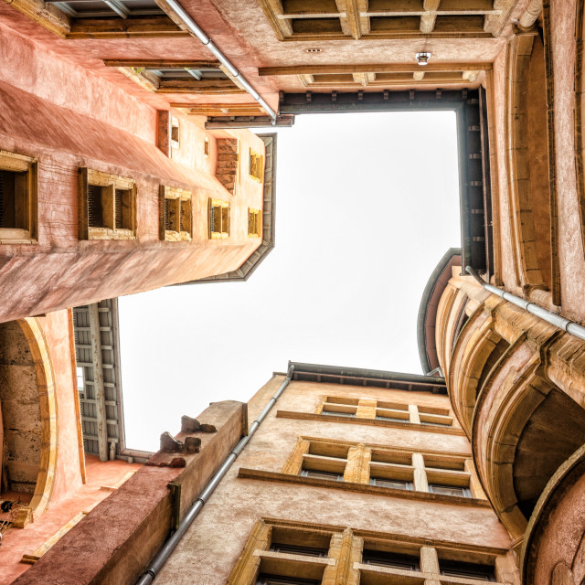 """Inner courtyard in Lyon"" stock image"