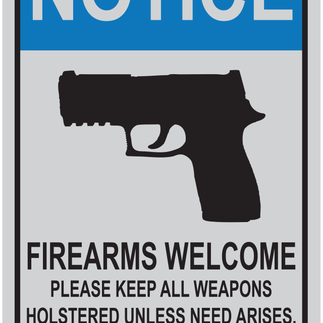 """""""Welcome reminder for owners of firearms"""" stock image"""