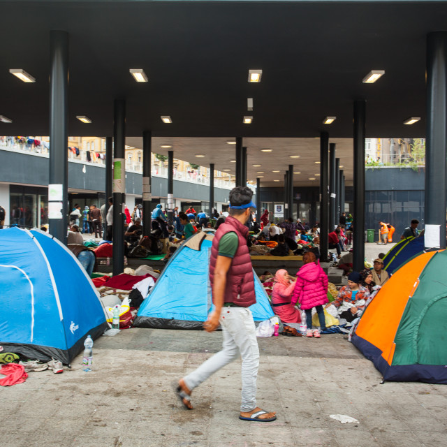 """War refugees at the Keleti Railway Station"" stock image"