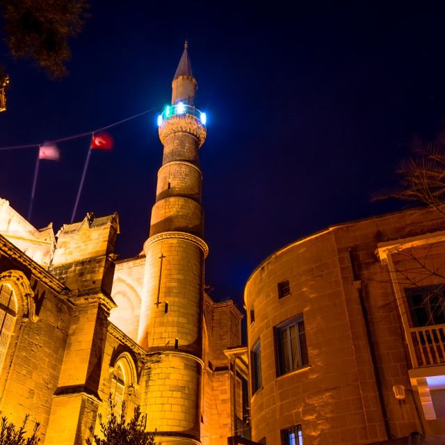 """Selimiye Mosque at night. Nicosia, Cyprus"" stock image"