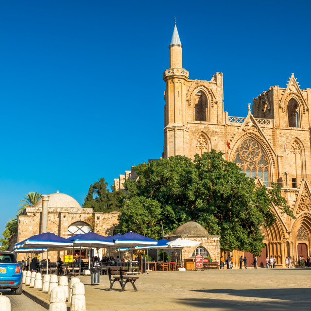 """St. Nicholas Cathedral at Mahmut Celaleddin square. Famagusta, Cyprus"" stock image"