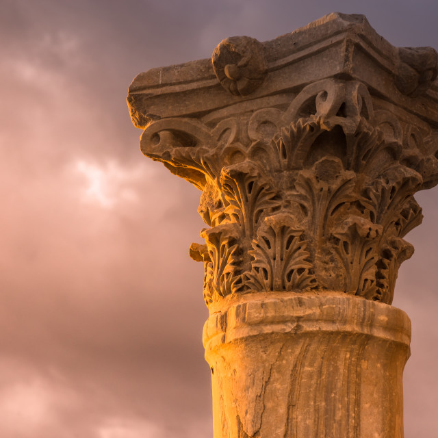 """Ancient column at the Roman city of Kourion. Limassol District,"" stock image"