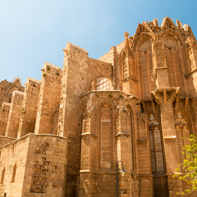 """St. Nicholas Cathedral - Lala Mustafa Mosque. Famagusta, Cyprus"" stock image"