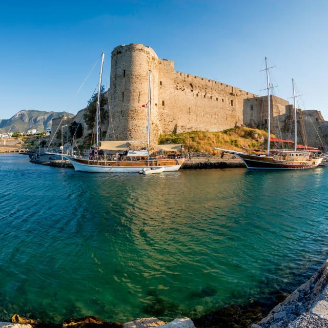 """Medieval castle of Kyrenia, Cyprus"" stock image"