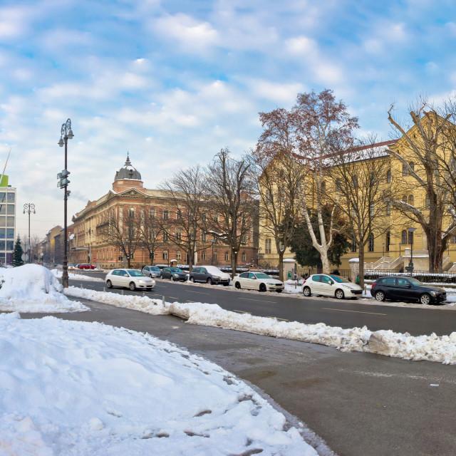 """Winter view of Marshal Tito square in Zagreb"" stock image"