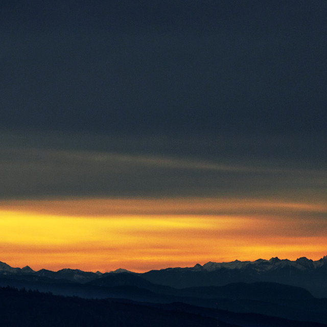 """Sunrise from Grouse Mountain, in Vancouver, BC"" stock image"