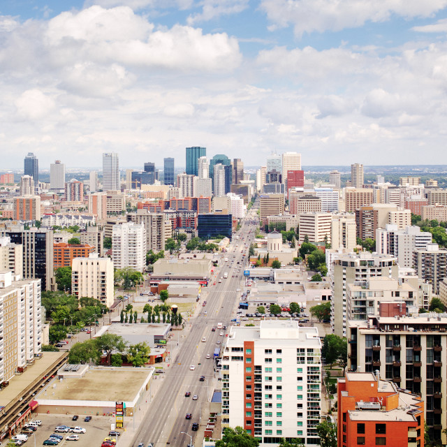 """Downtown Edmonton from the sky"" stock image"