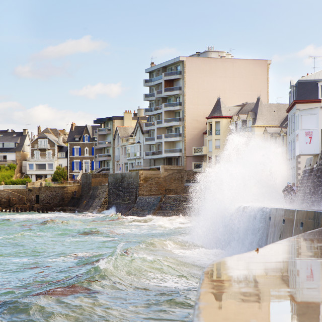 """Saint-Malo, France. High tide and big waves"" stock image"