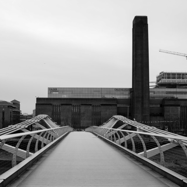 """Millennium Bridge and Tate Modern"" stock image"
