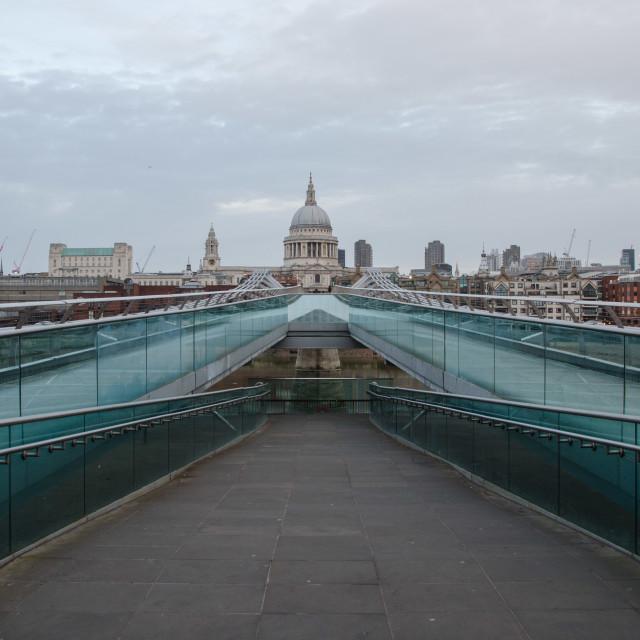 """Empty Millennium Bridge"" stock image"