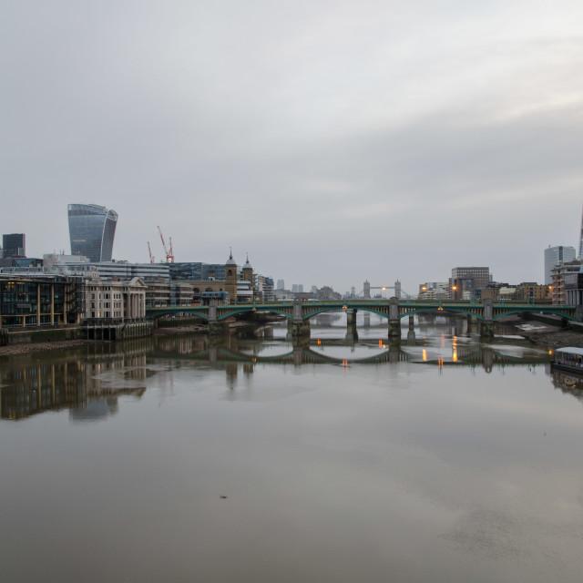 """Christmas morning on the Thames"" stock image"