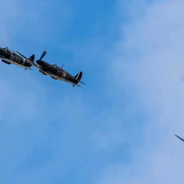 """Spitfires and Hurricane"" stock image"