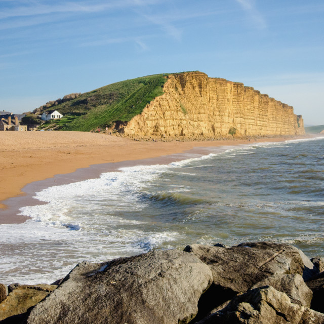 """""""East Cliff, West Bay"""" stock image"""