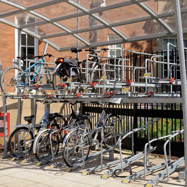 """Double decker bicycle parking station"" stock image"