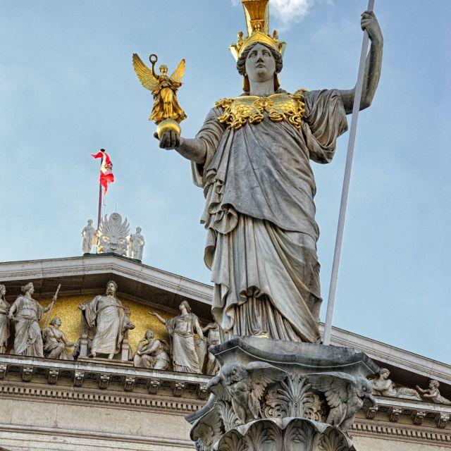 """Austrian Parliament Building - Pallas Athene Statue, Vienna"" stock image"