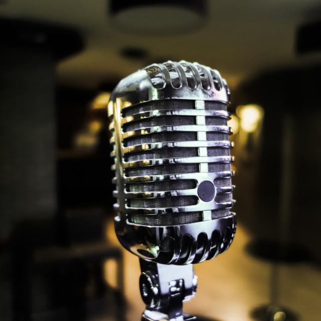 """Classic Microphone in jazz bar"" stock image"