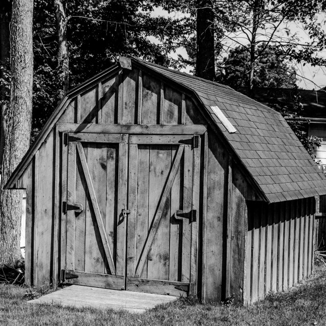 """""""Shed in backyard"""" stock image"""
