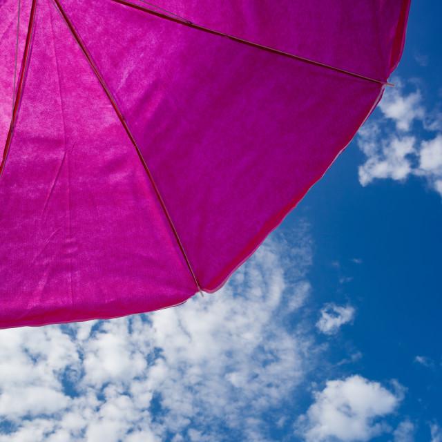 """beach umrella with blue sky"" stock image"
