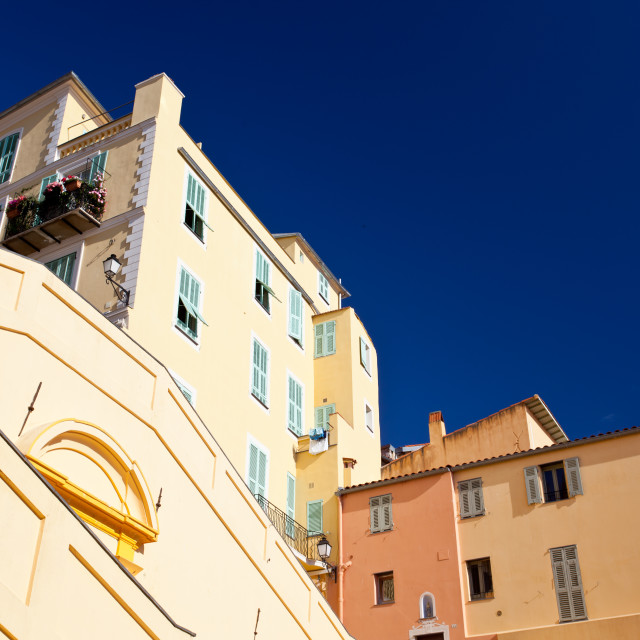 """yellow building in Menton"" stock image"