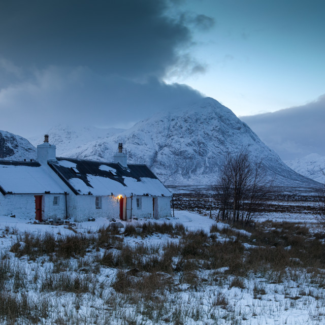 """Black Rock Cottage, Buachaille Etive Mor, Glencoe"" stock image"