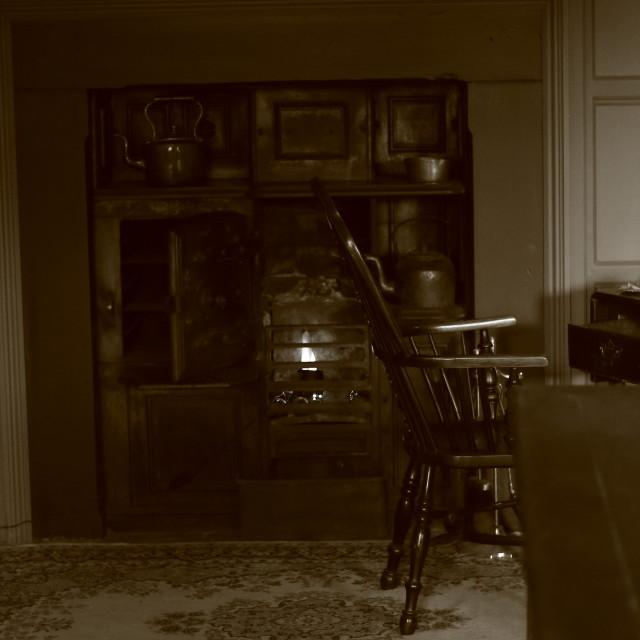 """Victorian kitchen scene"" stock image"