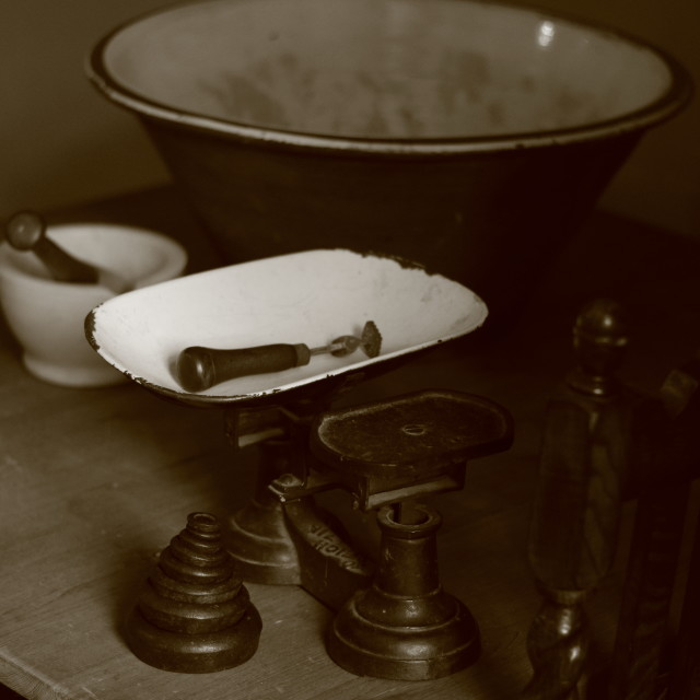 """""""Victorian Kitchen Scales"""" stock image"""
