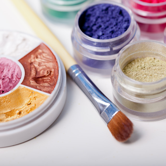 """colorful mineral eyeshadows"" stock image"