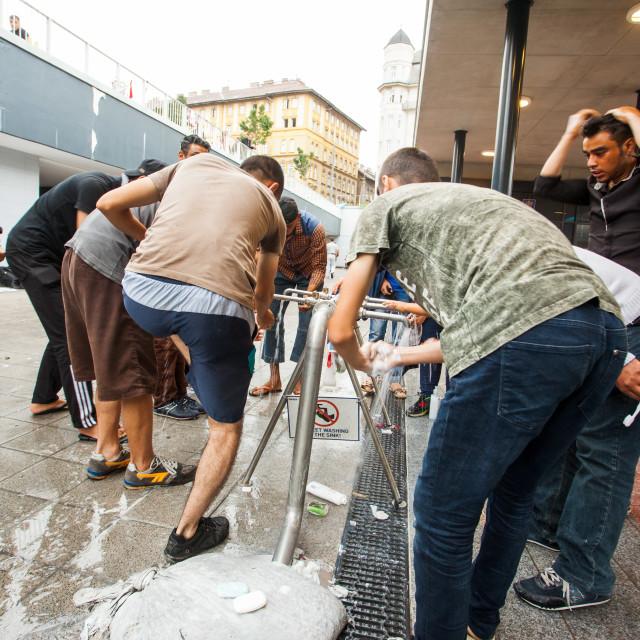 """War refugees at the Keleti Railway Station"" stock image"